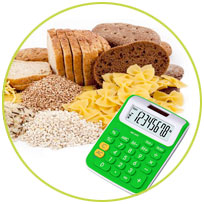 Icono de calculadora de carbohidratos