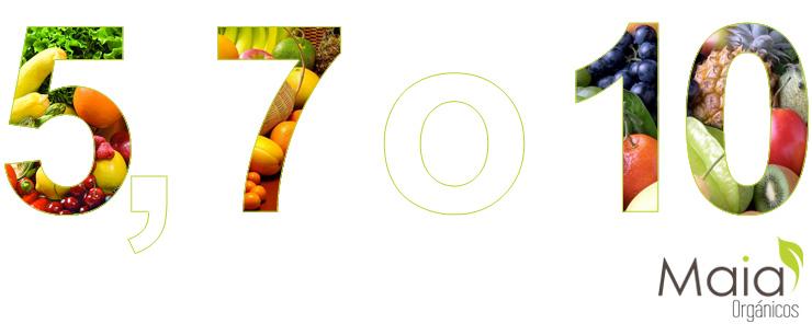 5, 7 o 10 raciones de frurtas y verduras