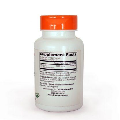 Frasco de Vitaminas B12 Informacion nutricional